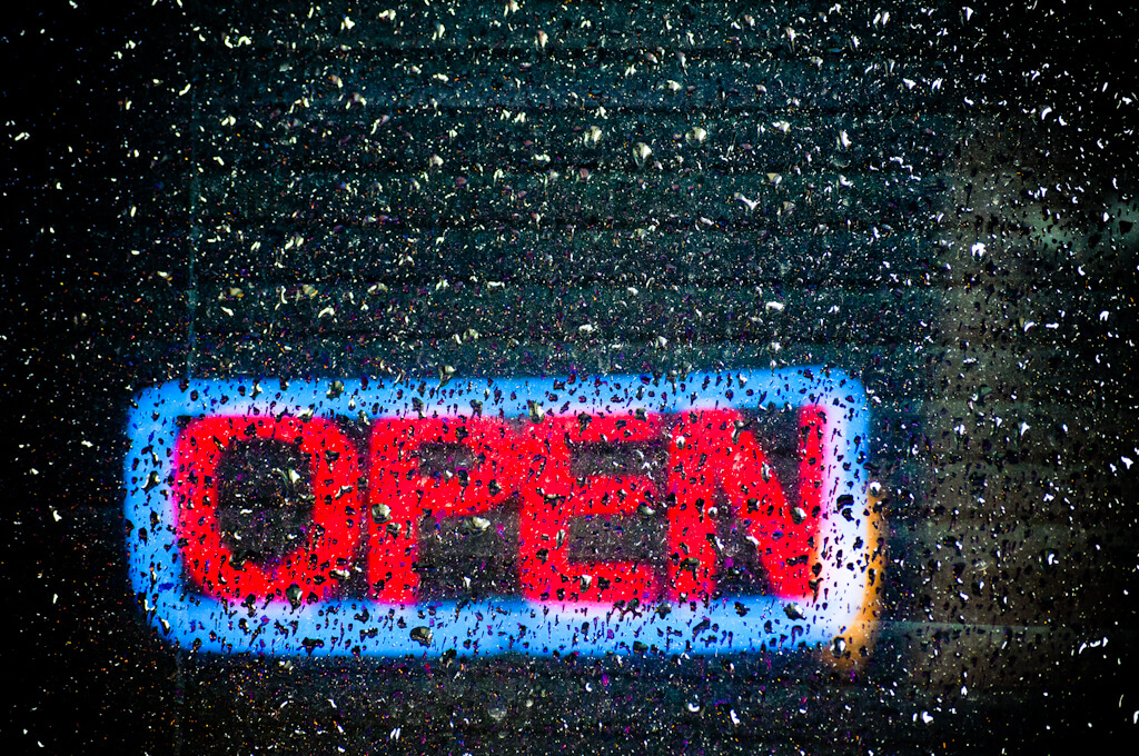 Orbmiser - Neon Open Sign with Rain Drops