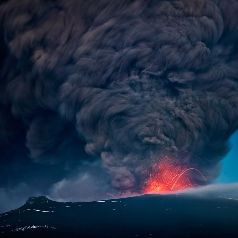 Ragnar Th. Sigurdsson - Ash plume with lava, Eyjafjallajokull Volcanic Eruption