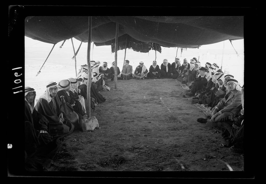 A tribal lunch at cavalry post at Tel-el-Meleiha
