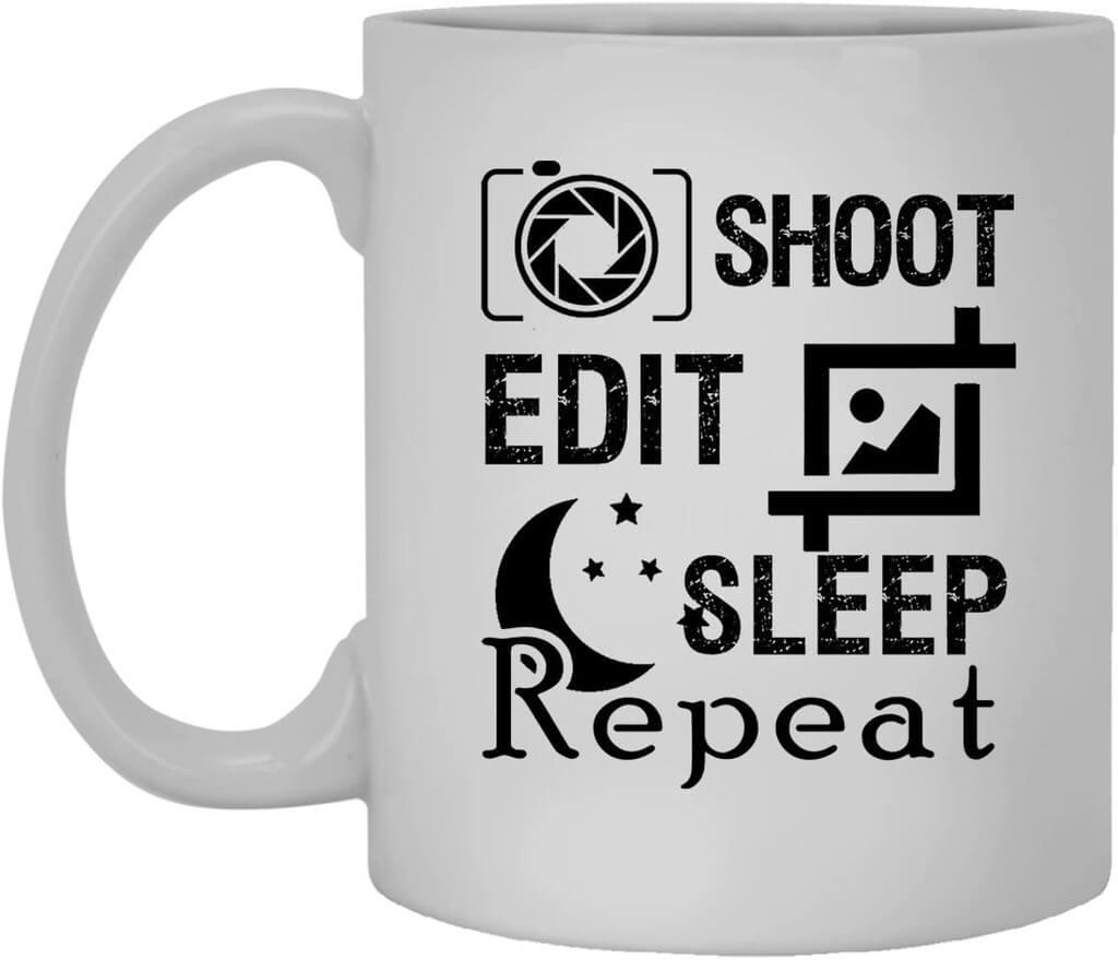 shoot edit sleep mug