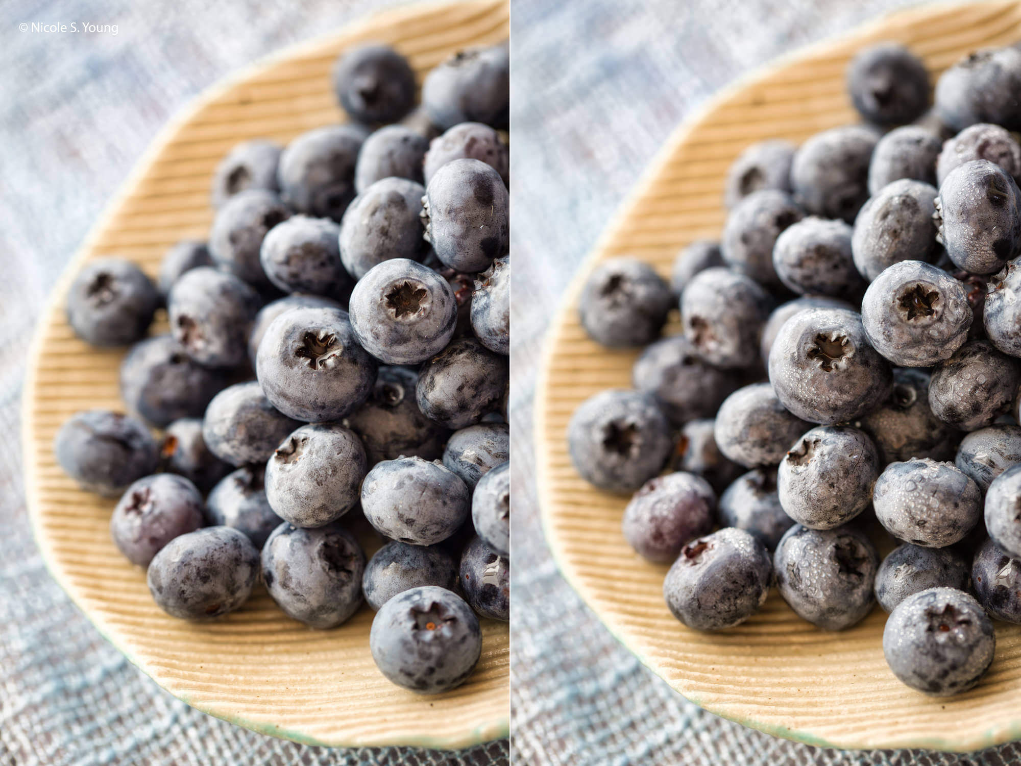 food photography tips with water added to blueberries