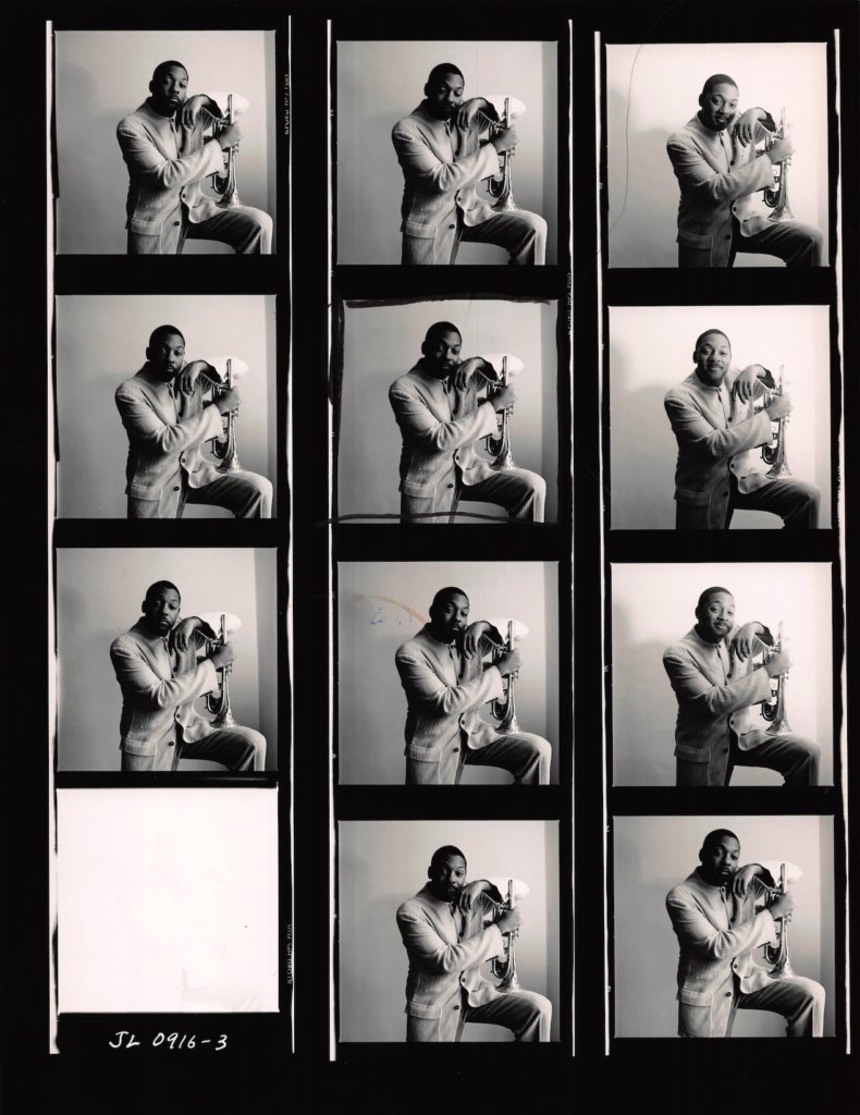 Contact sheet of Wynton Marsalis, one of Lowe's renowned series of jazz portraits. © The Estate of Jacques Lowe.