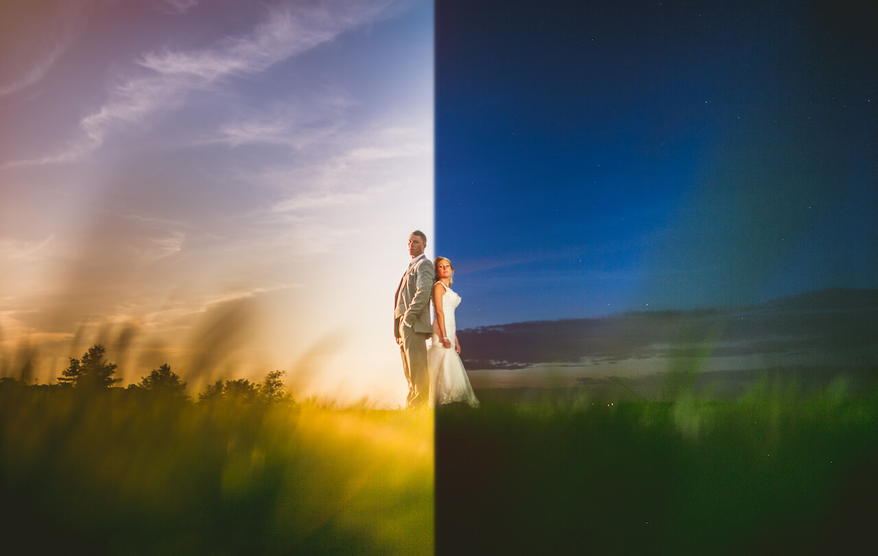 Couple poses for night and day effect