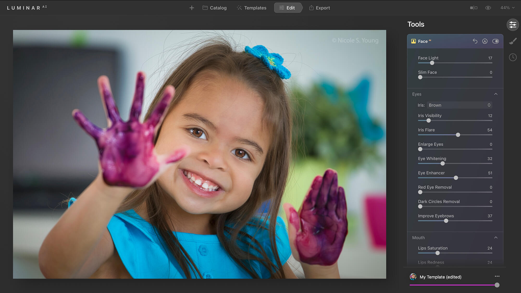 Girl with painted hands for creative photo editing tips