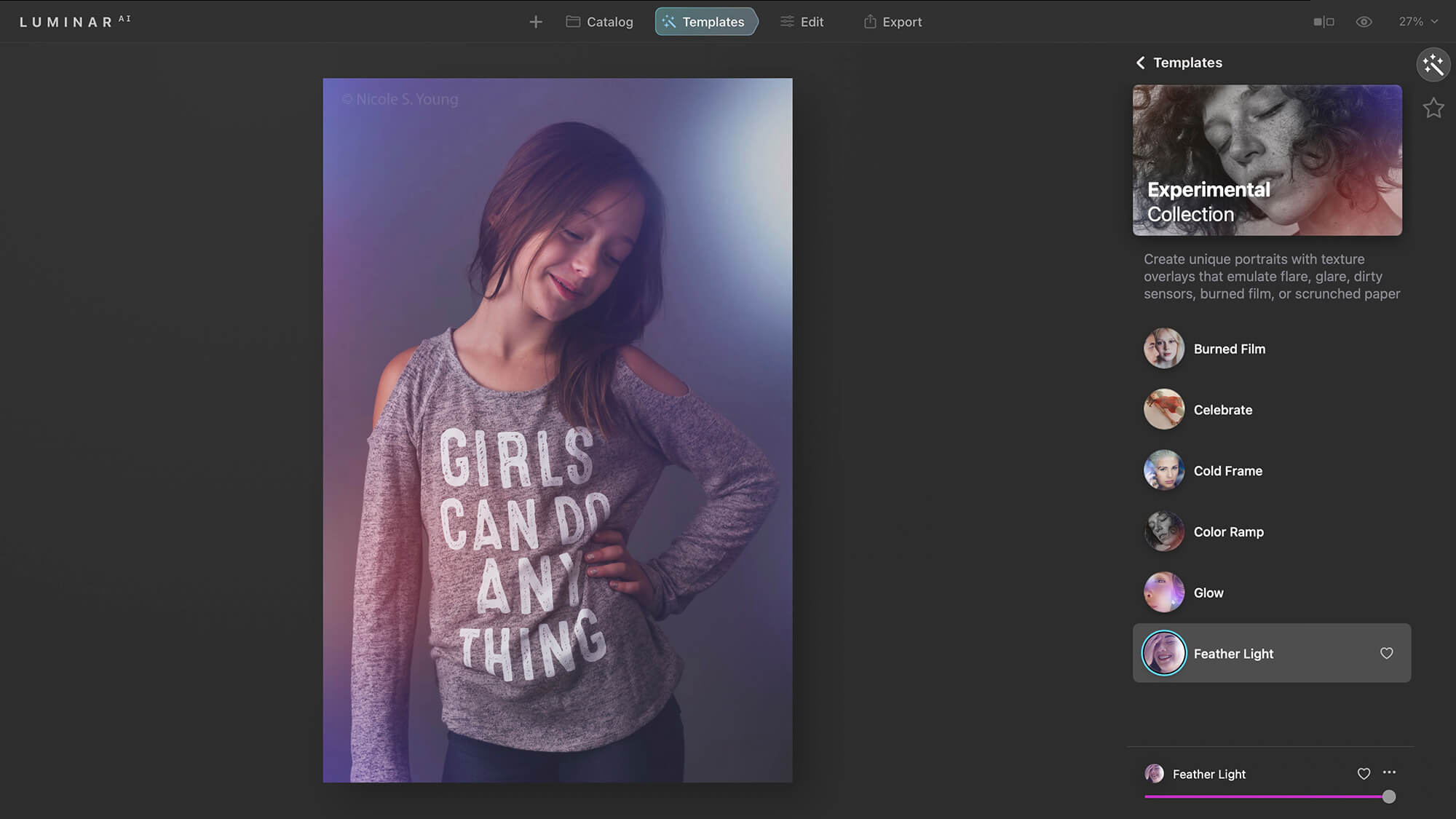 Luminar open with file showing templates for creative photo editing tips