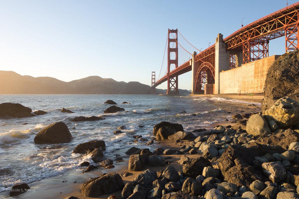 SF bridge near the water before