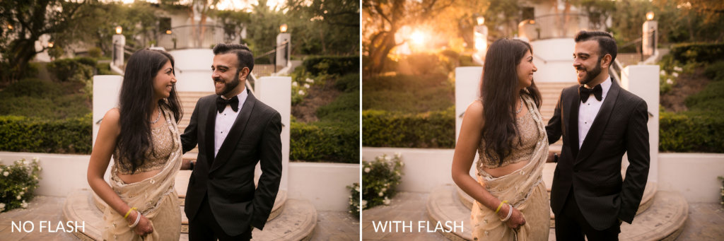couple poses for before and after photos to recreate golden hour