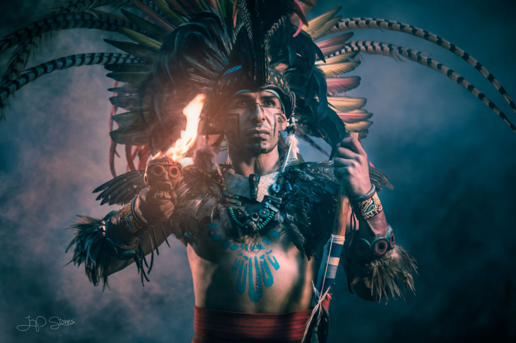 cinematic photography of Mexican Conchero dancer