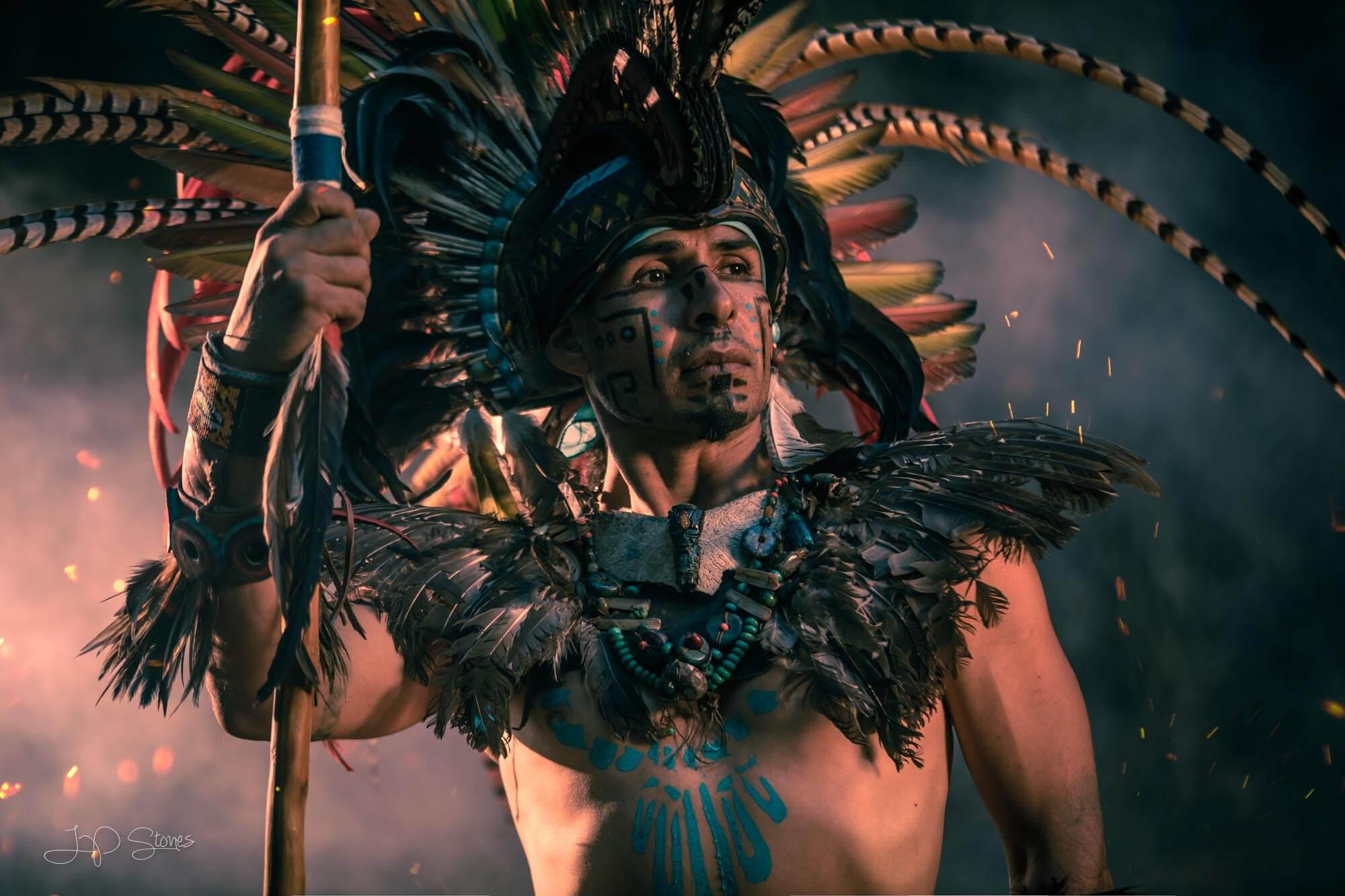 Large headdress on warrior