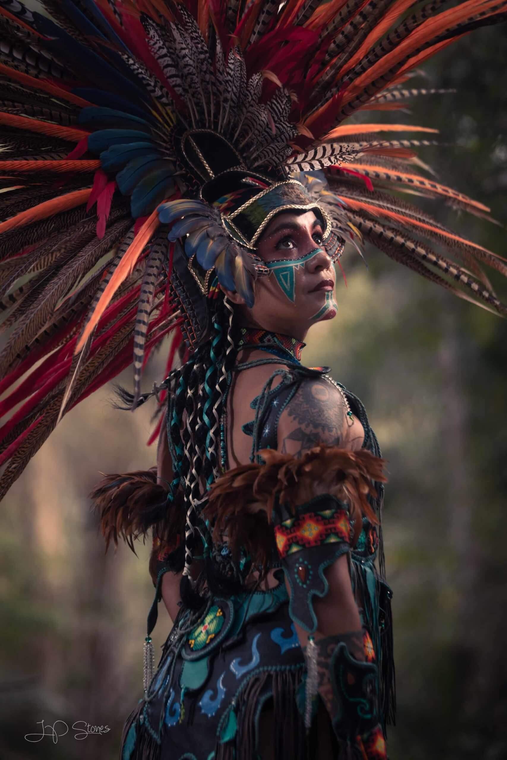 dramatic image with elaborate headdress