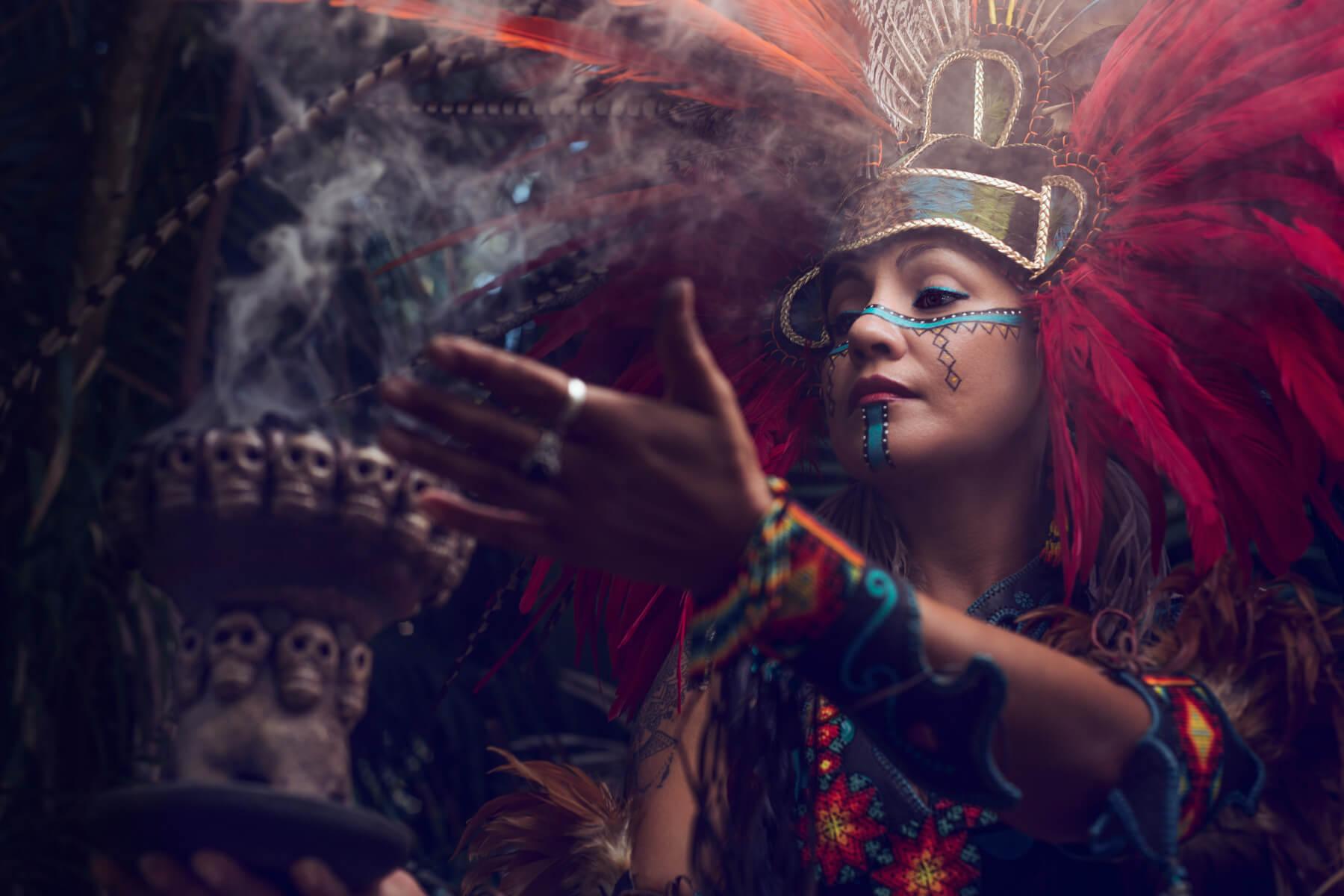 close up Conchero dancer with smoke