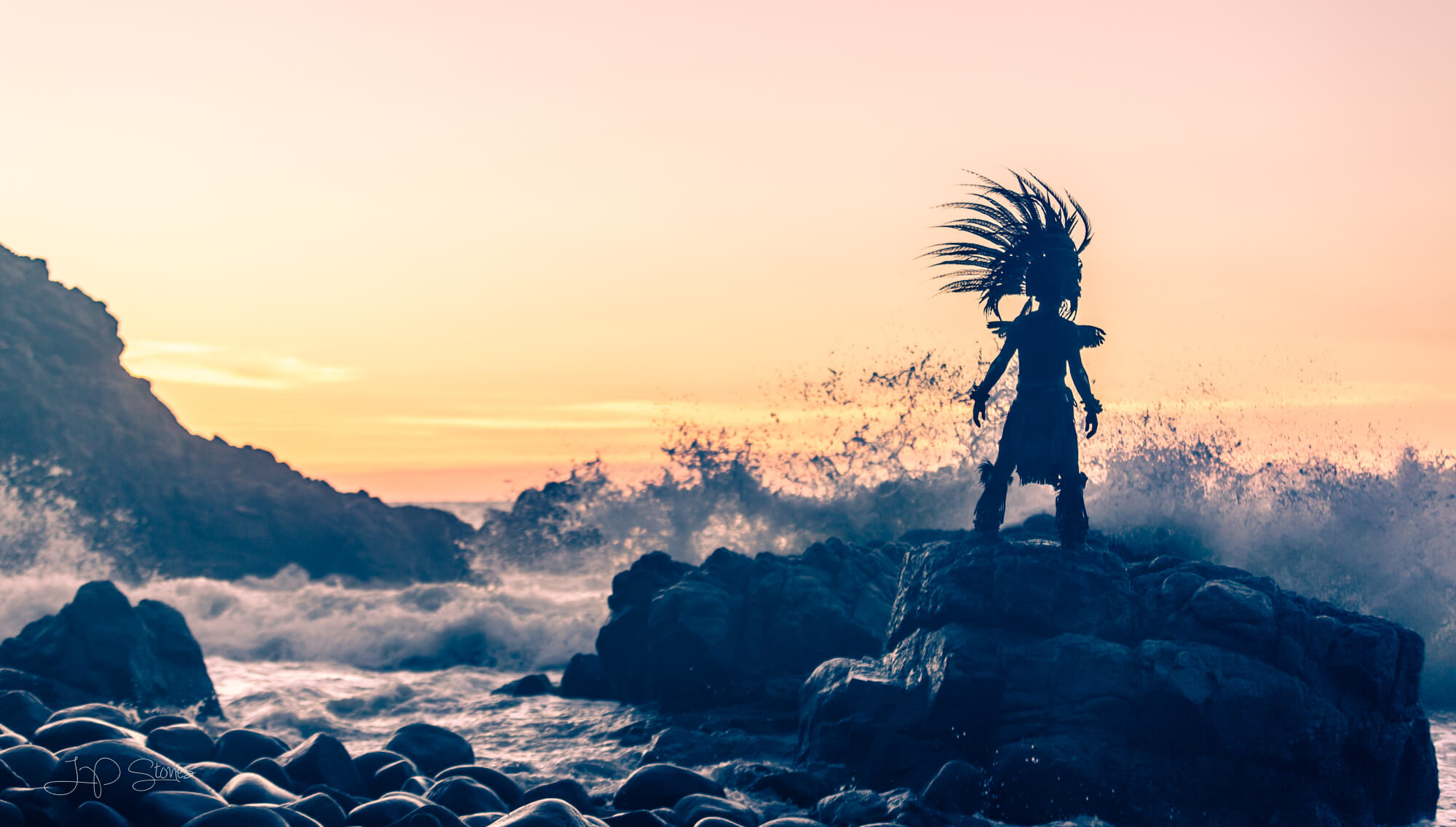 cinematic photography of dancer near ocean waves
