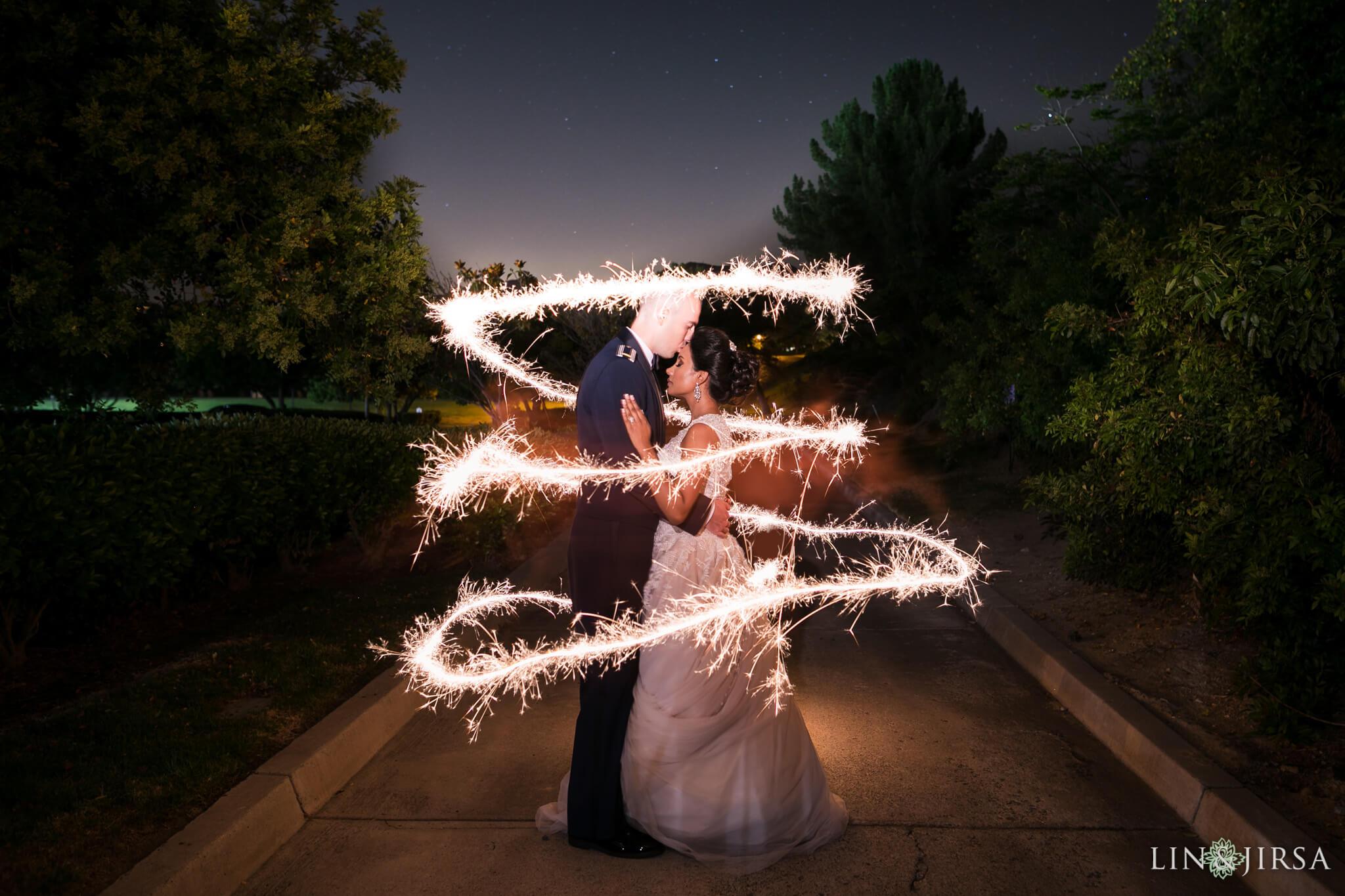 wedding couple with shutter drag sparkler