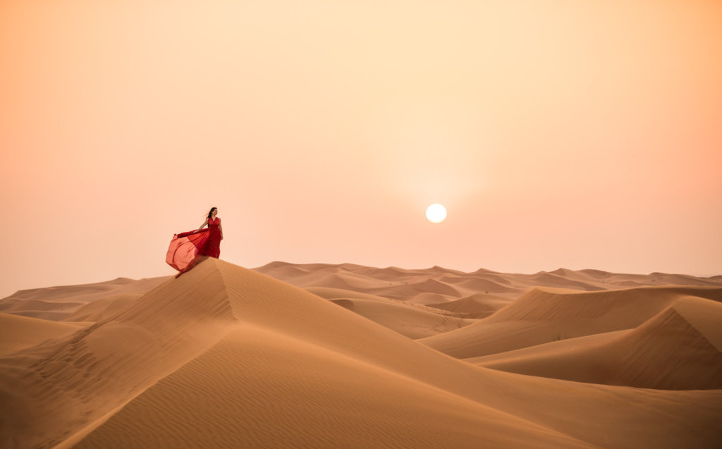 negative space photography desert portrait