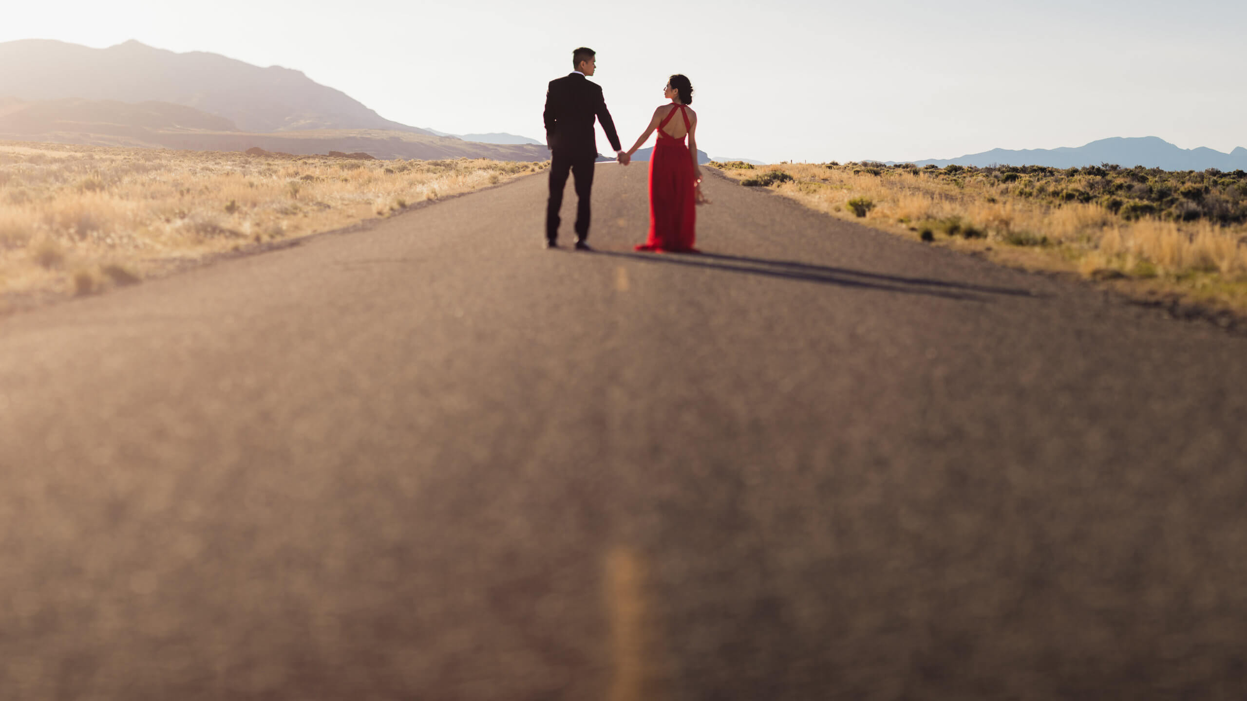 couple stands on the road