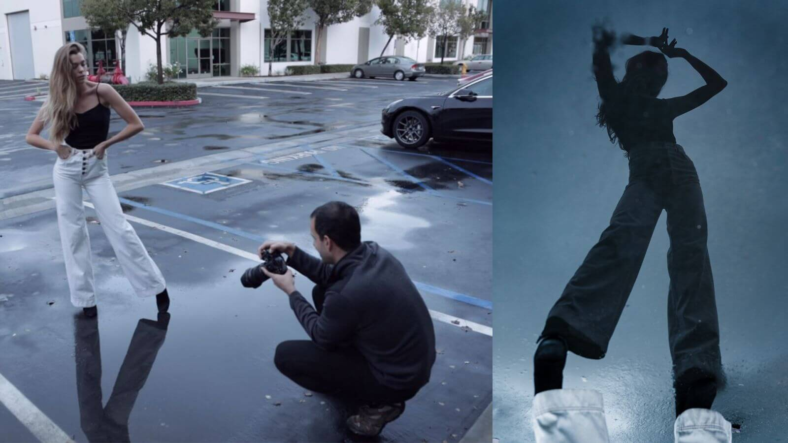 BTS with model over puddle